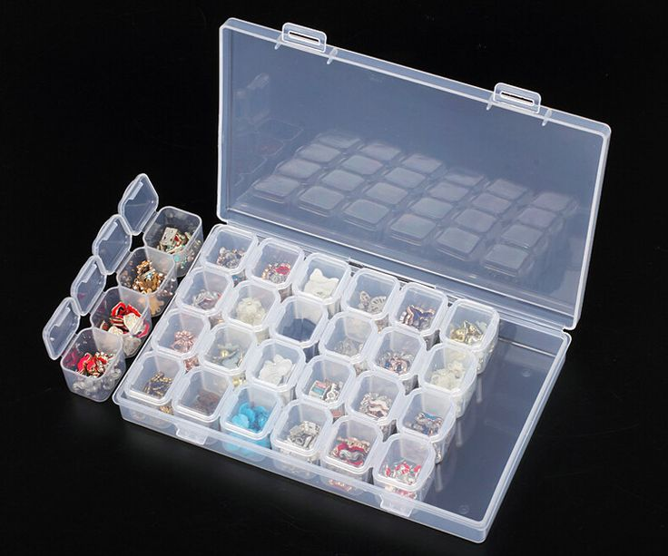 Professional Clear Plastic 28 Slots Rhinestone Nail Art Tools Decoration Jewelry Beads Display Storage Box Case Organizer Holder