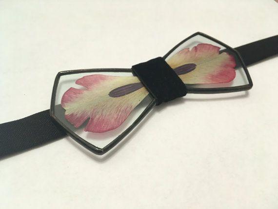 Glass bow tie Tulip bow tie Herbarium accessories by terezavarga
