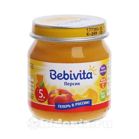 """Bebivita Пюре Персик, с 5 мес.  — 45р. ------------------------- Детское пюре """"Персик"""" (с 5 мес.), 100 гр. от Bebivita 1815RU  Персиковое пюре — настоящий деликатес для малышей.  Продукт обладает нежным сладким вкусом и оптимальной консистенцией для еще не умеющих жевать детей.  Рисовая мука грубого помола помогает полезным питательным компонентам лучше усвоиться.  Фруктовое пюре Бебивита изготовлено из отборных сочных плодов высочайшего качества и проходит строгий контроль на всех этапах…"""