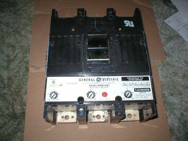 USED GE 400AMP 3POLE 600VAC 1200-4000MAG TRIP CIRCUIT BREAKER TJC36400B