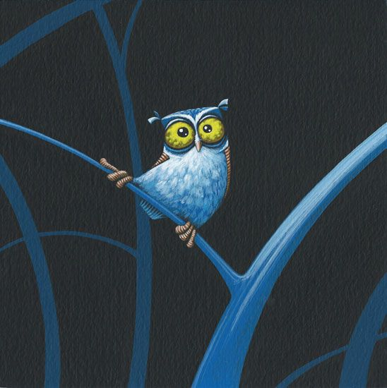 Painting of a small owl in a vintage, retro cartoon style