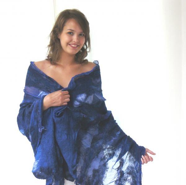 Nuno feltro scialle, sciarpa blu - artesanum com