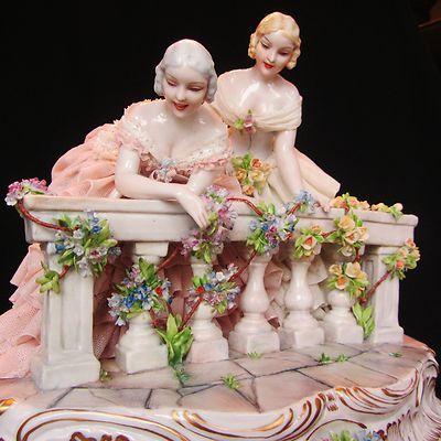 Superb Antique Dresden Porcelain Lace Fabris Lady Italy Figurine Capodimonte | eBay