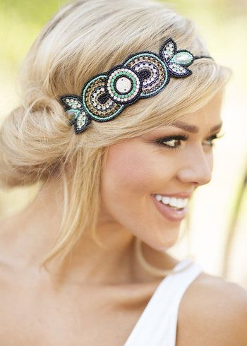 Beaded Rhinestone Headband Turquoise/Black