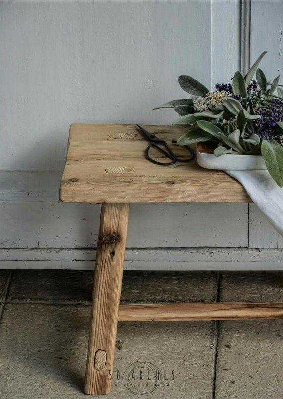 Wooden Step Stool Bedside: Handmade Wooden Stool,milking,spruce Barn Wood,bathroom