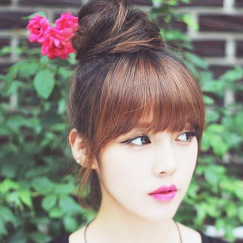 Wonderful Korean Bun Hairstyle For Long Hair