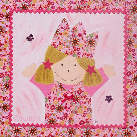 meisje Julia geschilderd op stof van bloemetjes. Leuk voor een meidenkamer! www.julijn.nl
