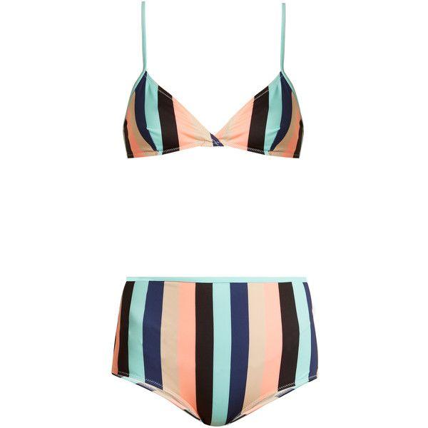 Solid & Striped The Brigitte striped bikini ($169) ❤ liked on Polyvore featuring swimwear, bikinis, multi, high rise bikini swimwear, striped high waisted bikini, retro high waisted bikini, high-waisted bikinis and retro style swimwear