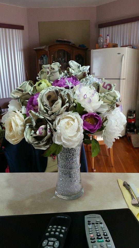 Sweet 16 money bouquet by my mom...in progress