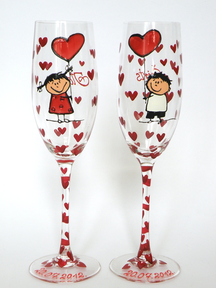 Hand painted Wedding Toasting Flutes Set of 2 Personalized Champagne glasses This Love is Forever ( Boy and Girl with red heart baloons ). $49.00, via Etsy.