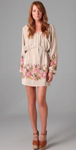 long sleeves, short skirt in silk