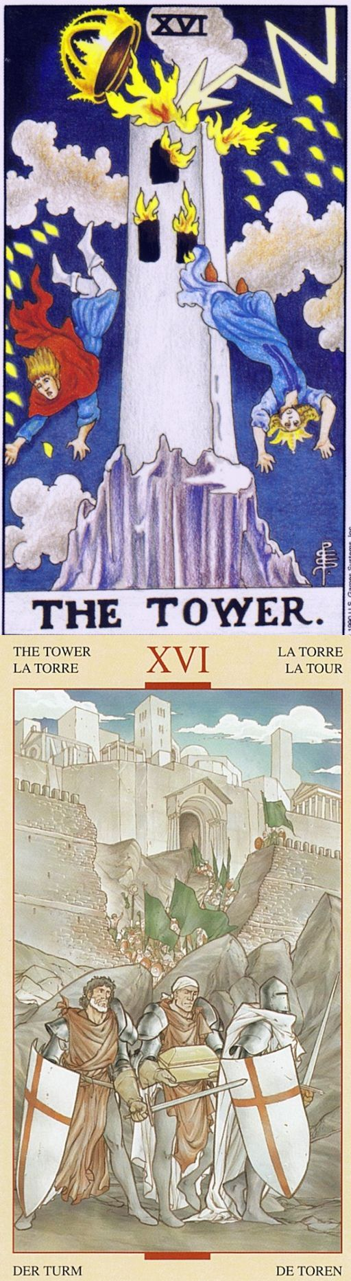 THE TOWER: collapse and avoiding suffering that could lead to growth (reverse). Universal Tarot deck and Holy Grail Tarot deck: tarot golden, free online tarot cards and tarot rare. Best 2018 paganism men and tarot artwork. #tarotart #wicca #empress #tarotapp #androidapp