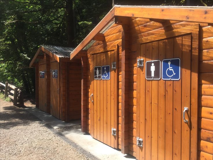 Typical Canadian toilets made of cedar, in the rain forest