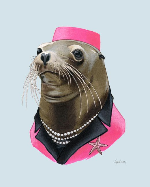 Sea Lion Lady art print 5x7 por berkleyillustration en Etsy, $10.00