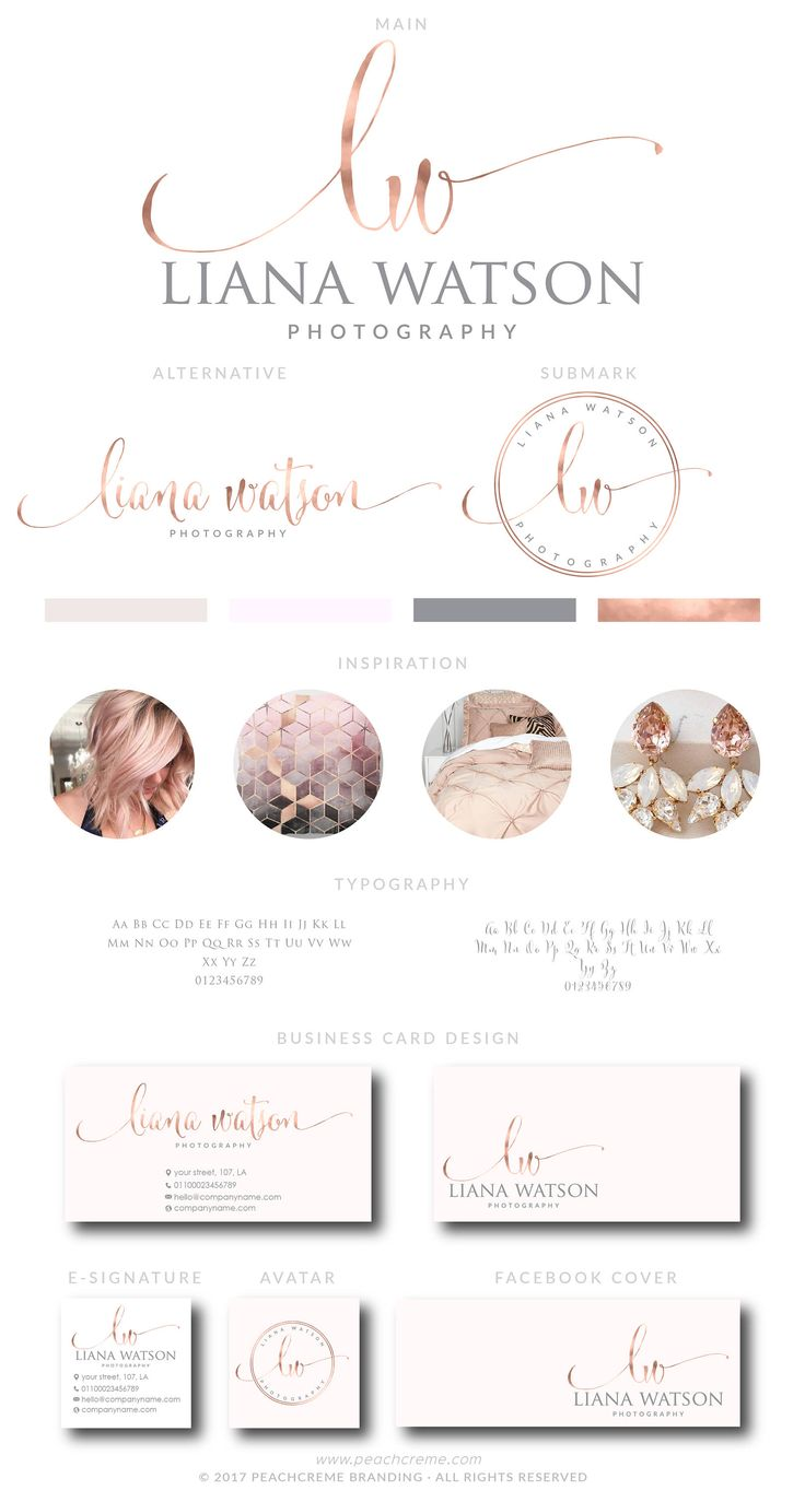 Rose Gold Logo Design, Custom Logo Design, Custom logo, Business Logo, Watermark Logo,  Photography Logo, Salon Logo, Initials Logo by PeachCreme on Etsy