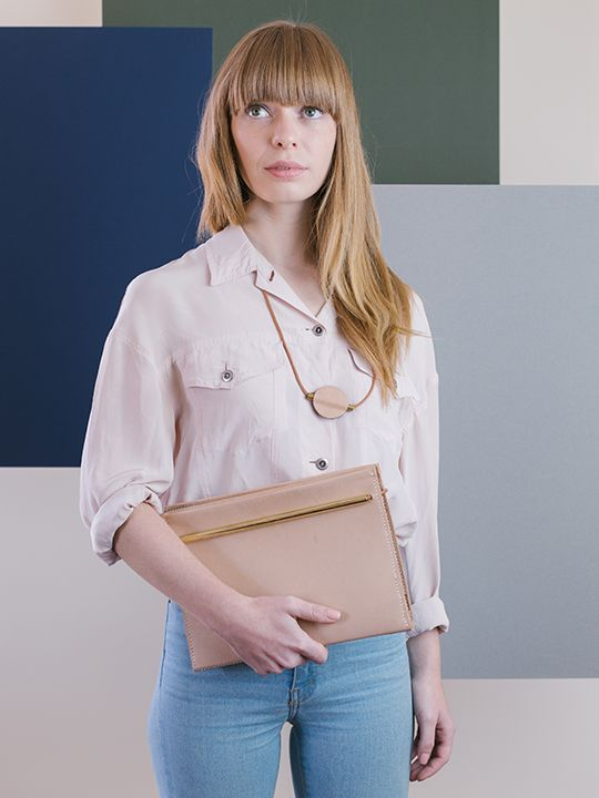 Symmetry collection by Georgie Cummings  Flip clutch in natural