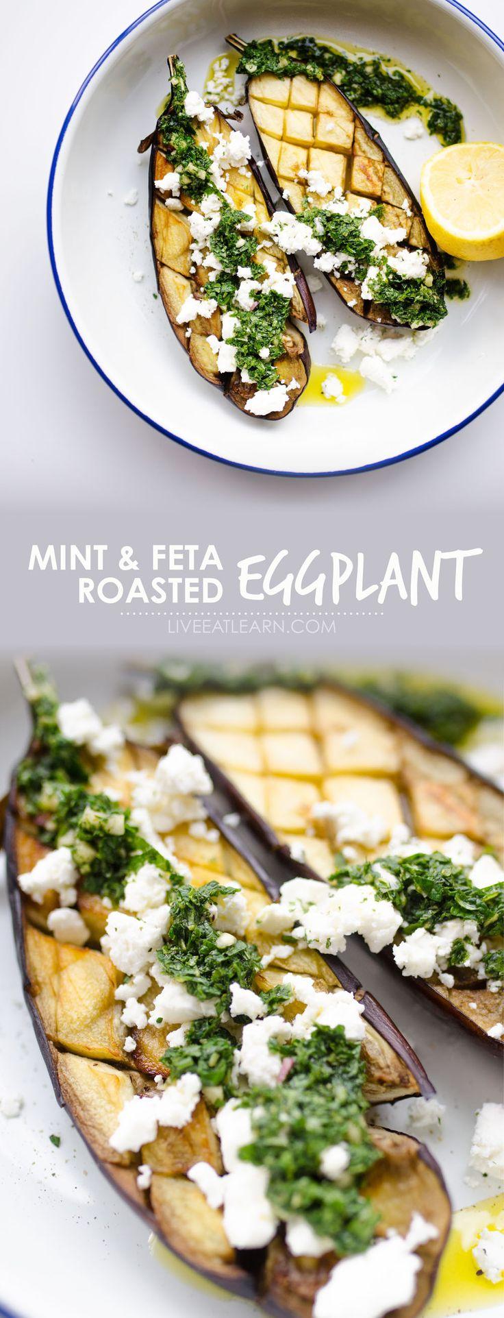 roasted eggplant with mint sauce and feta  recipe  roast