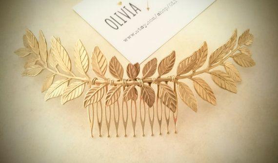 Large Laurel Leaf Hair Comb Gold Leaf Hair Comb by OLIVIABRUN