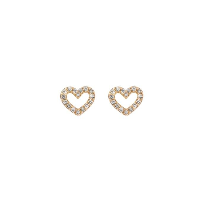 Heart earrings in 18K rose gold and diamonds TW.VS Stars & Hearts by OLE LYNGGAARD COPENHAGEN www.olelynggaard.com