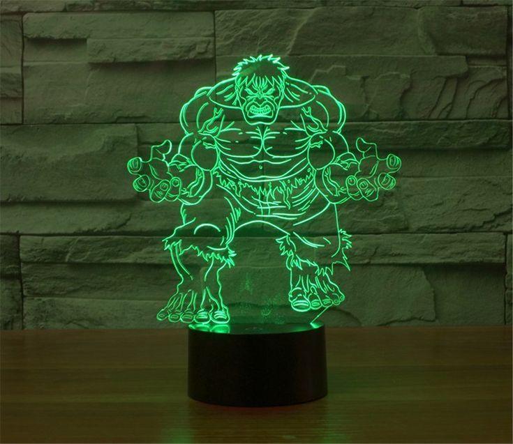 3d Optische Tauschung 2016 New Hulk Deadpool Panel Nacht 7 Farbwechsel Usb Touch Taste Led Schreibtisch Tabellen Licht Lampe Tischl Led Lampe Tischleuchte Hulk