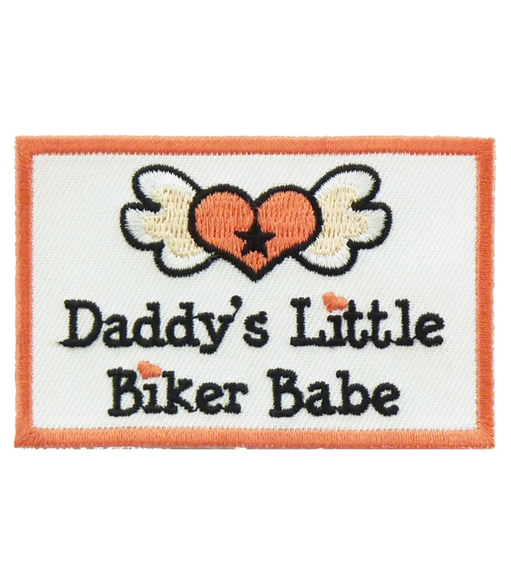 Daddys Biker Babe Patch ---- Our motorcycle patches come with heat-activated adhesive backings to allow you to iron on patches to shirts, jackets and more. If sew on application is preferred, all iron on patches have an embroidered border, so it's easy for anyone to sew on patches and can be done to any and all materials!!