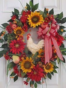 Tuscan Wreath,Rooster,Sunflowers,Kitchen Spring Summer Wreath, Front Door Wreath