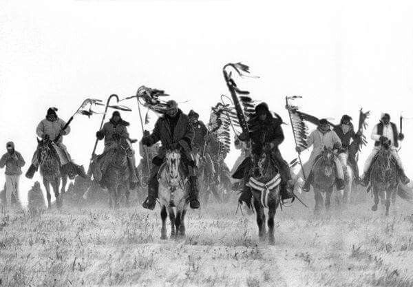 The BigFoot Riders will be arriving 12/28/16 to the Wounded Knee Massacre site  where over 350 men, women, children and elderly were murdered by the 7th Calvary the US Army. Chief BigFoot and his band were being chased to the Pine Ridge Reservation where they were seeking shelter and food as they were traveling through the snow. These are strong riders most young people traveling in cold frigid weather to honor our ancestors. #NeverForgetWoundedKnee