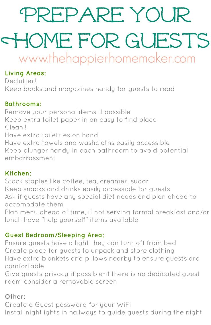 Holiday Preparation Ideas How to Prepare for Holiday House Guests and Free Printable Checklist - The Happier Homemaker