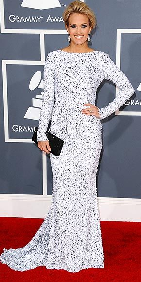 Carrie Underwood in open-back Gomez-Gracia column dress at 2012 Grammys