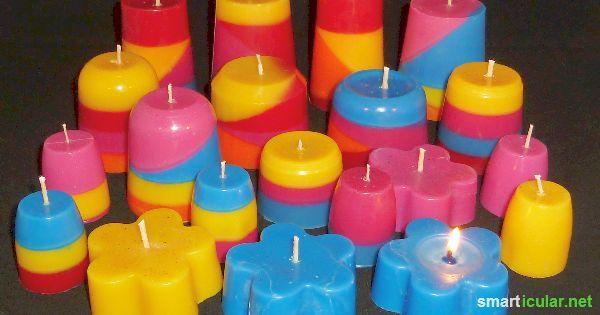 Aus den Resten von alten Kerzen kannst du mit wenig Aufwand wunderschöne neue Werke kreieren. Das spart Geld und du hast immer schöne Geschenke parat!