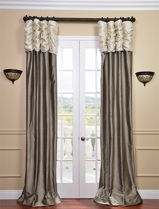 Ruched Thai Silk Curtain - Pearl White Header  Grey Panel