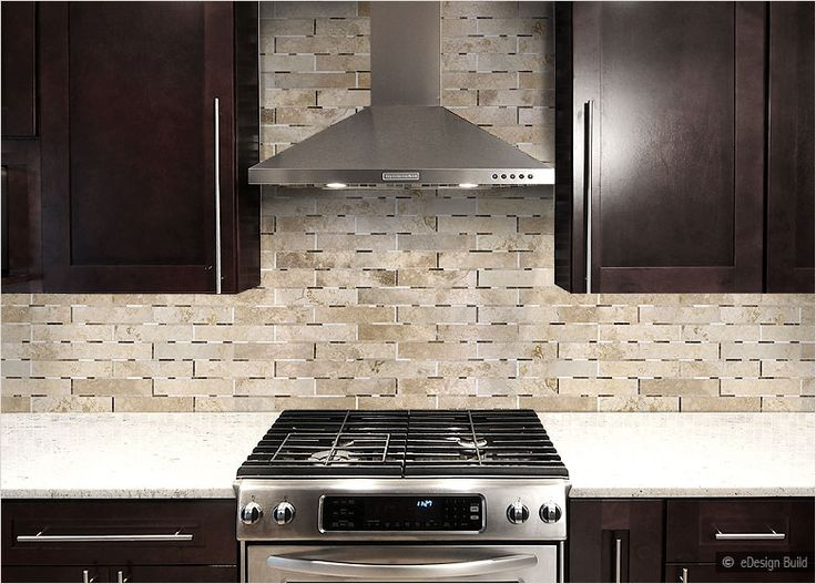 Backsplash ideas for dark cabinets light brown glass for Brown kitchen cabinets with black granite