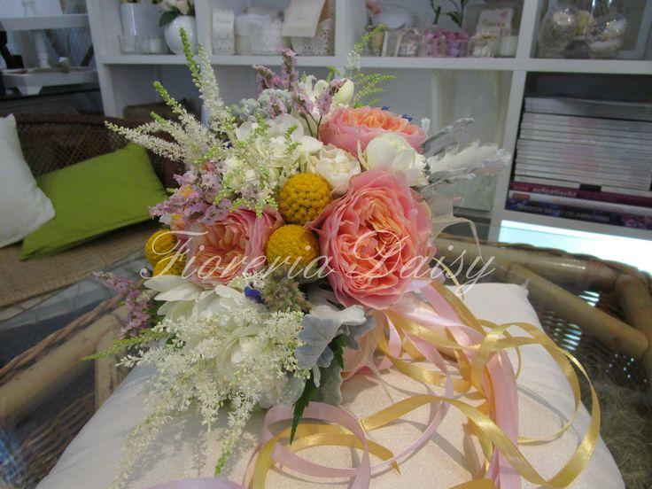 Wedding bouquet rose inglesi, english roses, astilbe e craspedia. Country & Shabby