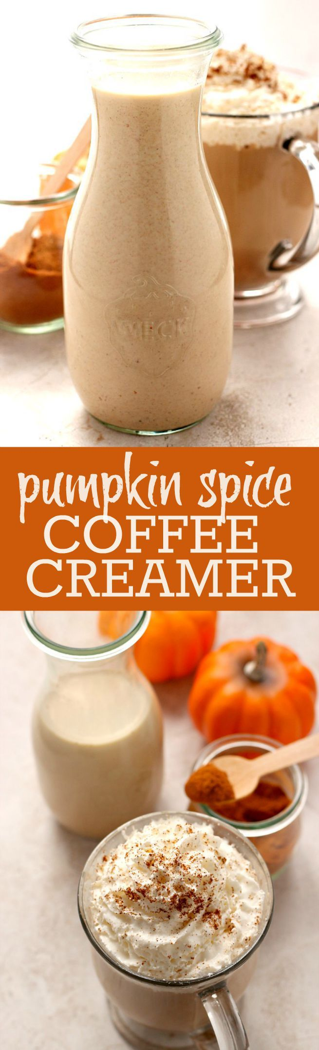 Homemade Pumpkin Spice Coffee Creamer - the easiest way to have a delicious cup of your favorite pumpkin spice latte made in your own kitchen! This creamer is crazy good!: