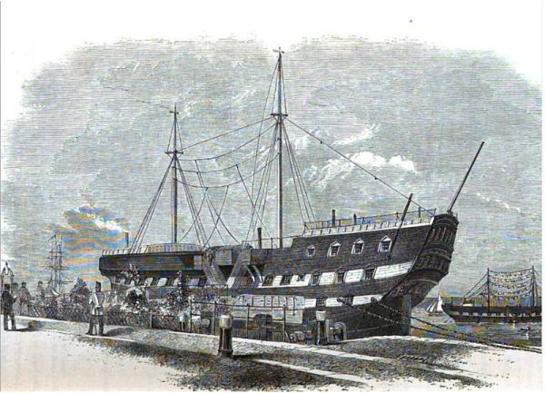 Incredible Hulks: The Fearsome Prison Ships of the Former British Empire (this image is of HMS Warrior)