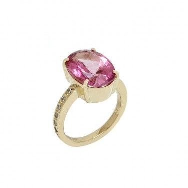 Custom Pink Topaz and Diamond Ring by Benjamin Black Goldsmiths