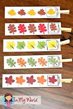Autumn / Fall Preschool Centers leaf patterns (AB)