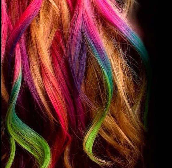 Dirty blonde hair with rainbow colored highlights | All ...