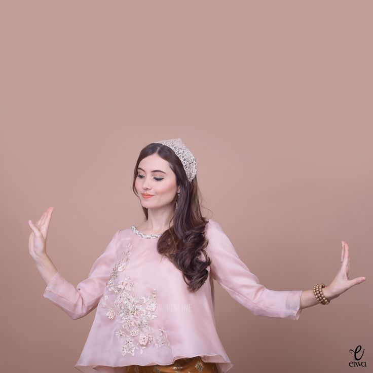 Organdy embroidery embroidered embellished long sleeve top organza kebaya indonesia, credit @eiwaonline