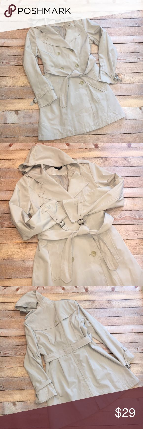 "EUC Sonoma Raincoat with Hood ✔️EUC Sonoma Double Breasted Raincoat with Hood and belt ✔️Gently loved, worn a handful of times  ✔️Great quality coat, fully lined with high end details like buckles at the sleeve cuff ✔️Size M ✔️Waist 34"" unststretched ✔️Bust 40"" unstretched ✔️Length shoulder to hem 32"" ✔️Length underarm to hem 23.5 ✔️Sleeve length shoulder to edge of cuff 23.5"" ✔️100% polyester Sonoma Jackets & Coats Trench Coats"