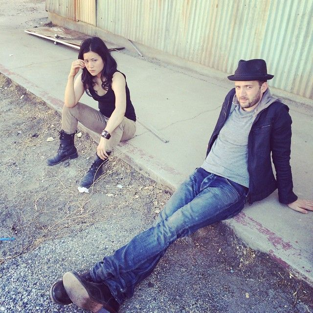 #scorpion - Jadyn Wong & Eddie Kaye Thomas taking a break from filming.