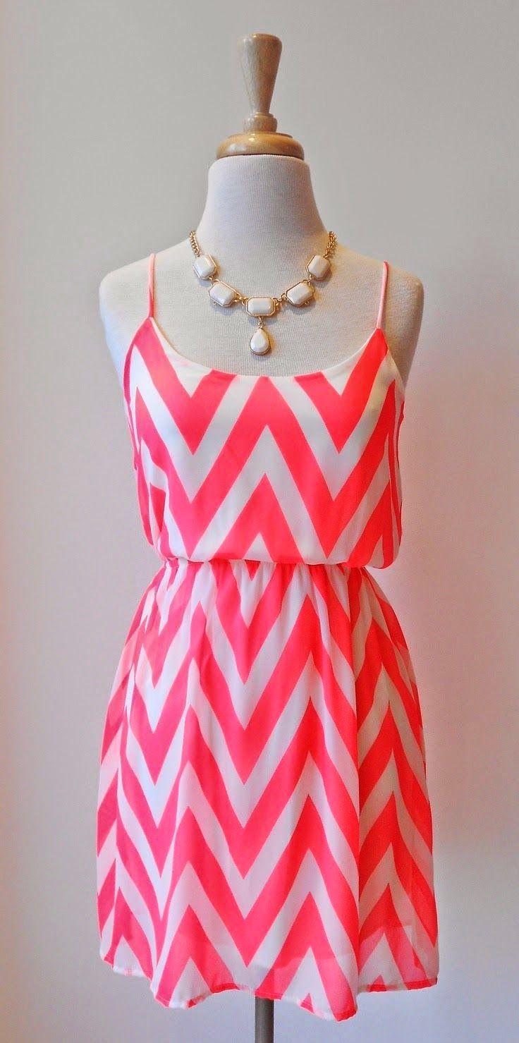 Neon Pink Chevron Dress