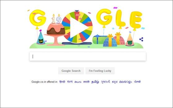 Google celebrates its 19th birthday with surprise spinner doodle : News, News - India Today  ||  Google celebrates its 19th birthday with surprise spinner doodle India Today Tech Last Updated: SEP 27, 2017 New Delhi Email Author  Google has become an indispensible part of our lives and it is hard to imagine a life without it. Well, if you ever thought of being thankful to…