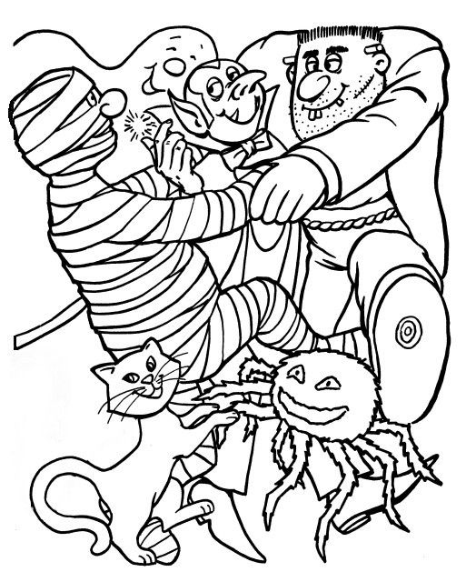 HALLOWEEN COLORING picture showing a mummy, a cat, spider, vampire etc.