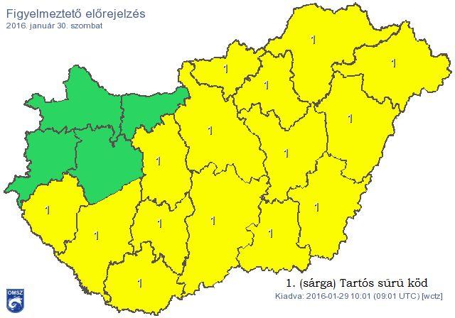 A tartós, sűrű köd miatt az észak-nyugati területeket leszámítva az ország nagy részére ismét figyelmeztetést adott ki az Országos Meteorológiai Szolgálat. A veszélyjelzés szerint Győr-Moson-Sopron, Komárom-Esztergom, Vas és Veszprém megye kivételével az egész országra figyelmeztetés…