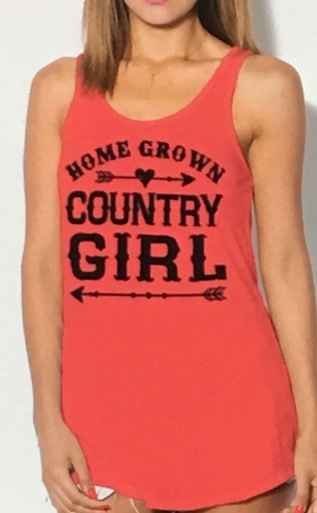 Home Grown Country Girl Tank with Tribal Arrows in Coral. 95%, 5% Spandex. Fits True to Size. I'm 5'10', 150 Pounds and Wear a Medium. Sm. 4/6 Medium 8/10 Large 12/14
