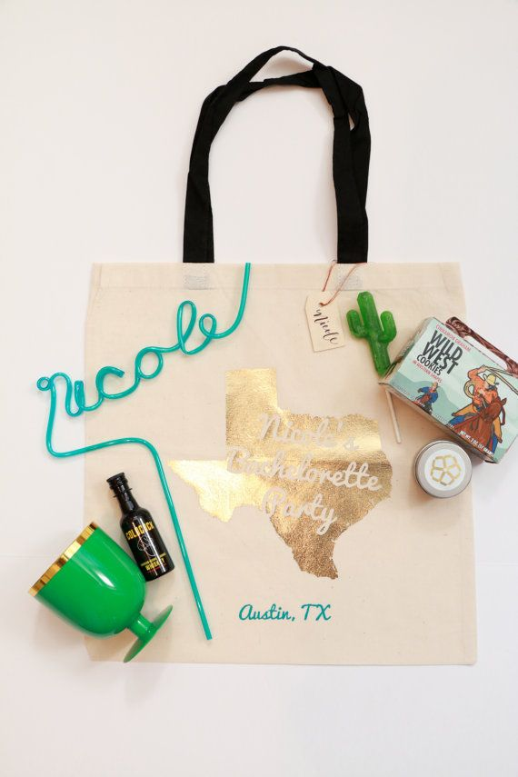 Texas Wedding and Bachelorette Gift Bag Canvas by AnthonyandStork