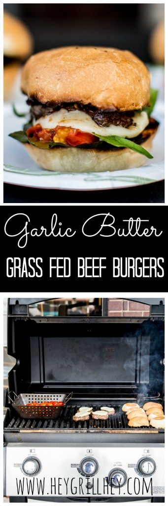 Garlic Butter Grass Fed Beef Burgers with Burst Tomatoes and Melted Mozzarella