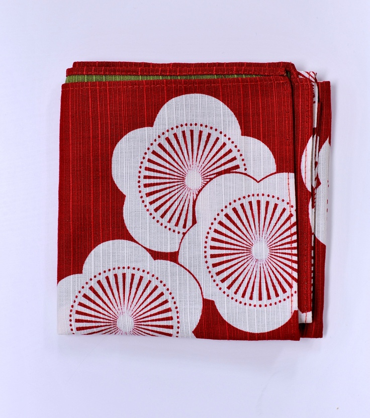 Tenugui - traditional Japanese hand towel. Red pattern
