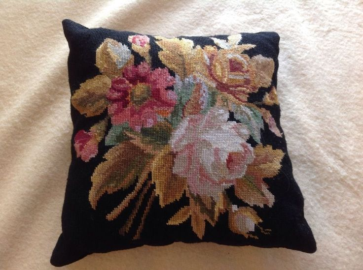 Wool Needlepoint Black 16 x 16 Pillow  Edith s Rose  Velvet Zip Back.